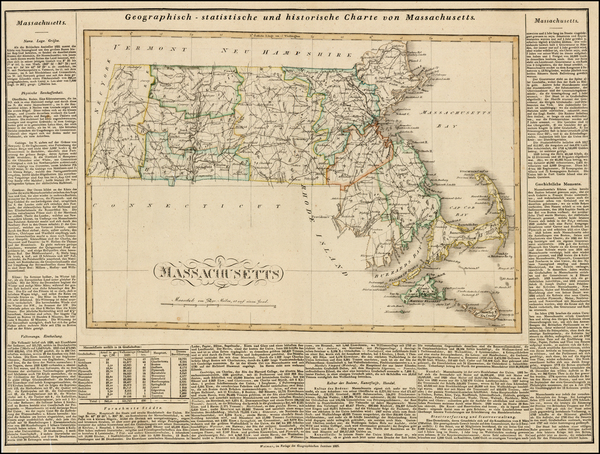 23-New England and Massachusetts Map By Carl Ferdinand Weiland