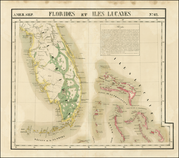 50-Florida and Bahamas Map By Philippe Marie Vandermaelen
