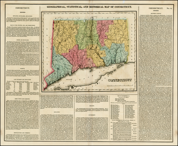 13-Connecticut Map By Henry Charles Carey  &  Isaac Lea