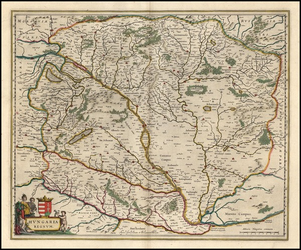 100-Europe, Austria and Hungary Map By Willem Janszoon Blaeu
