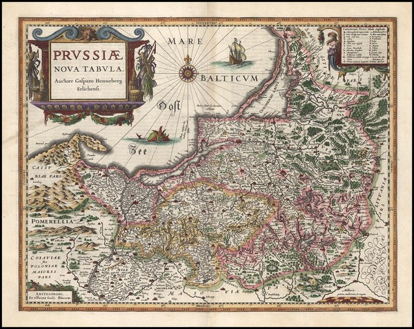 75-Europe, Germany, Poland and Baltic Countries Map By Willem Janszoon Blaeu