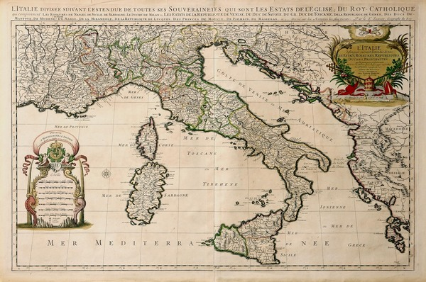 81-Europe and Italy Map By Alexis-Hubert Jaillot / Pieter Mortier