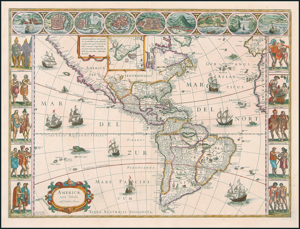 93-North America, South America and America Map By Willem Janszoon Blaeu