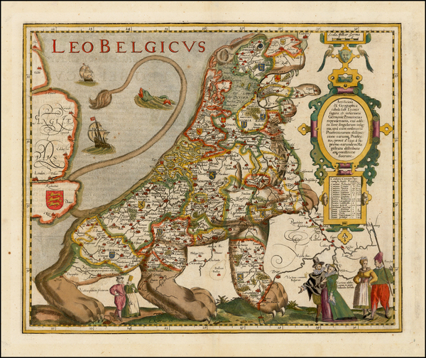 Netherlands and Comic & Anthropomorphic Map By Pieter van den Keere