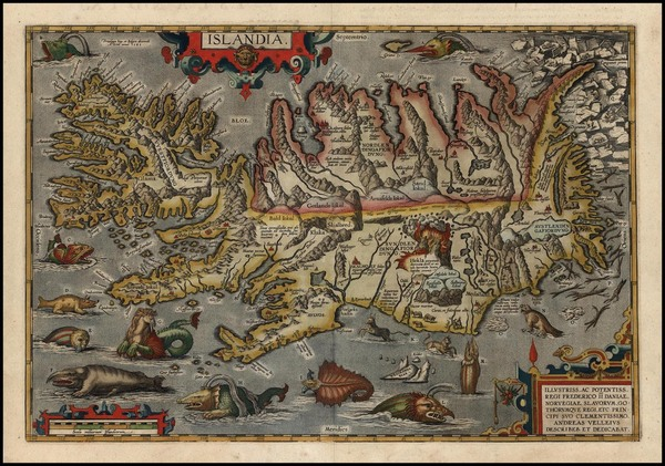 1-World, Atlantic Ocean, Europe, Iceland and Balearic Islands Map By Abraham Ortelius