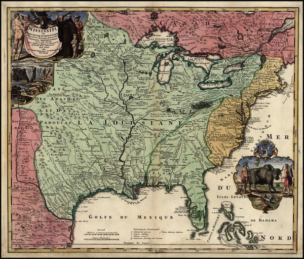 49-United States, South, Midwest, Plains, North America and Canada Map By Johann Baptist Homann