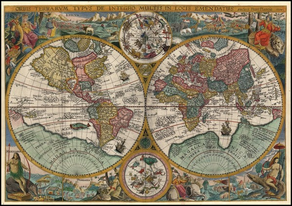 79-World, World, Curiosities and Celestial Maps Map By Petrus Plancius