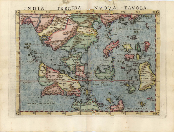 88-Asia, China, India and Southeast Asia Map By Girolamo Ruscelli