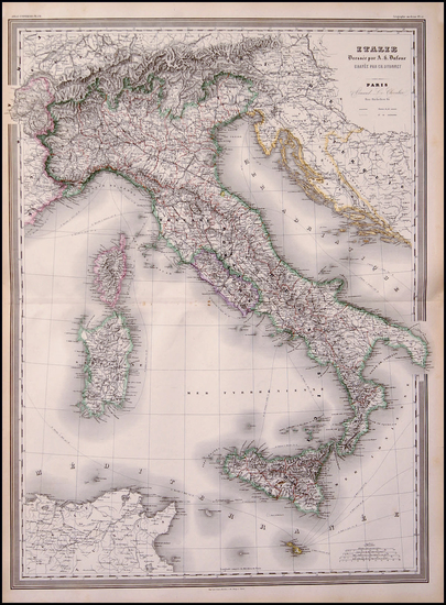 45-Europe, Italy and Balearic Islands Map By Adolphe Hippolyte Dufour