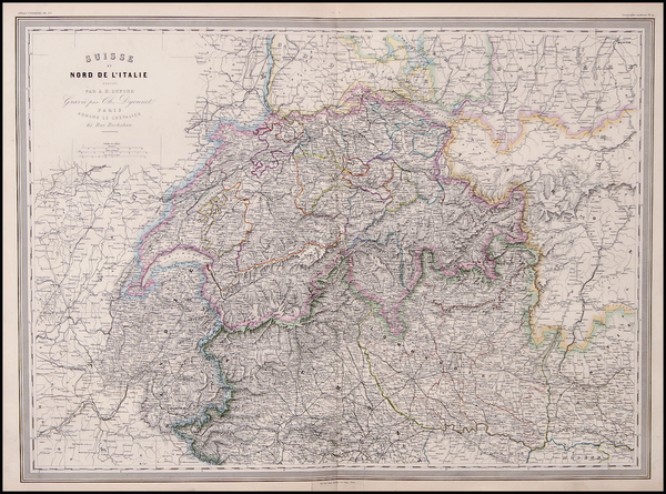 67-Europe, Switzerland and Italy Map By Adolphe Hippolyte Dufour