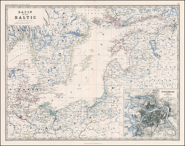 46-Europe, Russia, Baltic Countries and Scandinavia Map By W. & A.K. Johnston