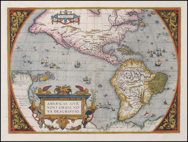 90-World, Western Hemisphere, North America, South America and America Map By Abraham Ortelius