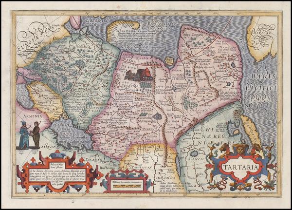 91-Asia, China, Korea, Central Asia & Caucasus and Russia in Asia Map By Jodocus Hondius