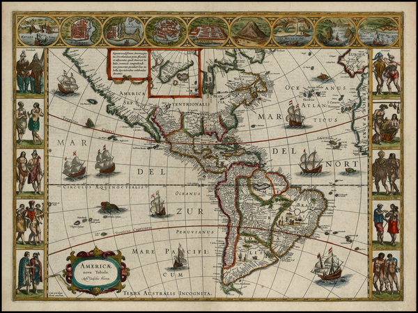 24-North America, South America and America Map By Willem Janszoon Blaeu