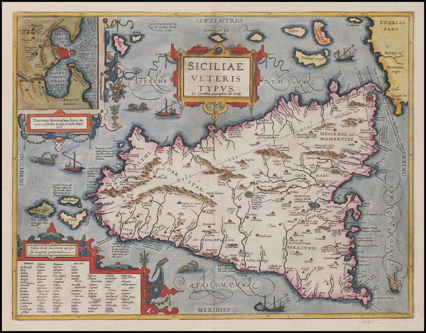 92-Europe, Italy, Mediterranean and Balearic Islands Map By Abraham Ortelius