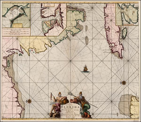 69-Florida, Southeast and Caribbean Map By Johannes Van Keulen