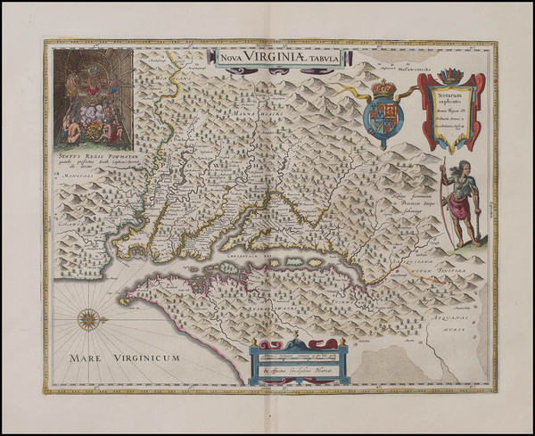 55-Mid-Atlantic and Southeast Map By Willem Janszoon Blaeu