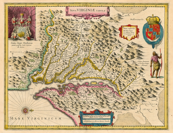 40-Mid-Atlantic and Southeast Map By Henricus Hondius