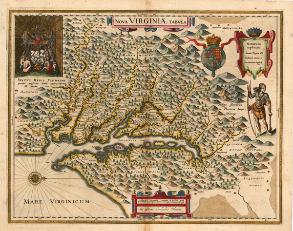 78-Mid-Atlantic and Southeast Map By Jodocus Hondius