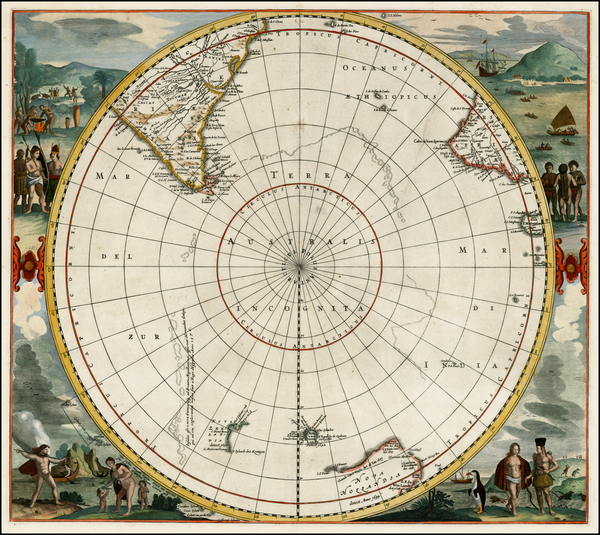 49-Polar Maps, South America, Pacific, Australia and New Zealand Map By Frederick De Wit