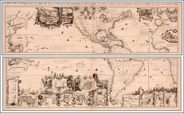 62-World, World, Atlantic Ocean, North America, South America, Pacific and America Map By Henri Ch