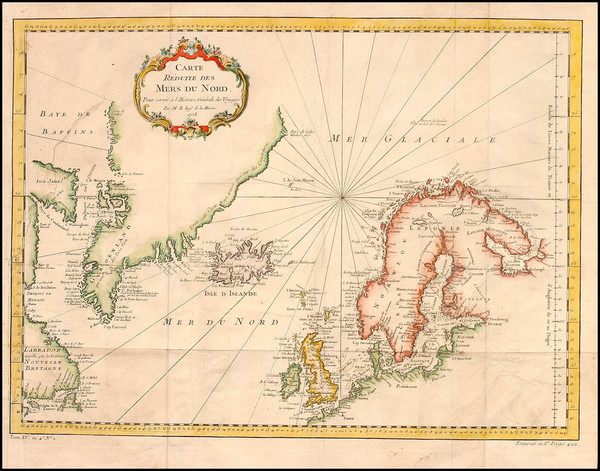 46-Polar Maps, Atlantic Ocean, Canada and Scandinavia Map By Jacques Nicolas Bellin
