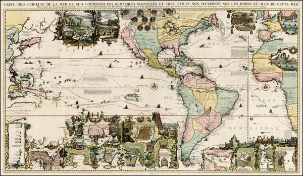 50-World, World, Atlantic Ocean, North America, South America, Pacific and America Map By Henri Ch