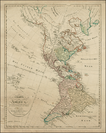 84-South America and America Map By Homann Heirs / Franz Ludwig Gussefeld / Christoph Fembo