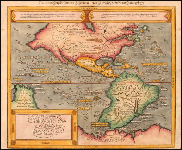 28-World, Western Hemisphere, South America and America Map By Sebastian Munster