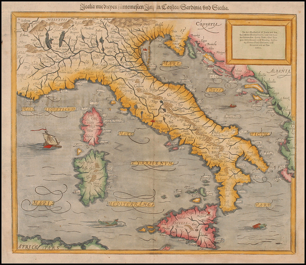 92-Europe, Italy and Balearic Islands Map By Sebastian Munster