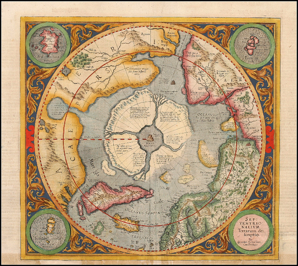 28-World, World, Polar Maps and Alaska Map By Gerard Mercator