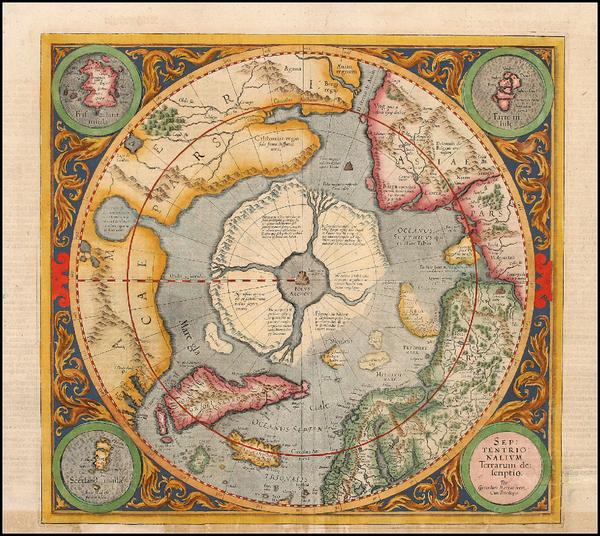 7-World, World, Polar Maps and Alaska Map By Gerard Mercator