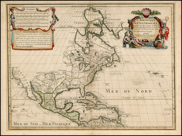 74-North America and California Map By Guillaume De L'Isle