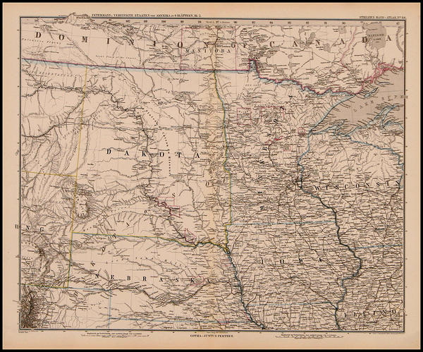 94-Midwest and Plains Map By Adolf Stieler  &  Augustus Herman Petermann