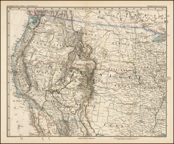 Texas, Plains, Southwest, Rocky Mountains and California Map By Adolf Stieler