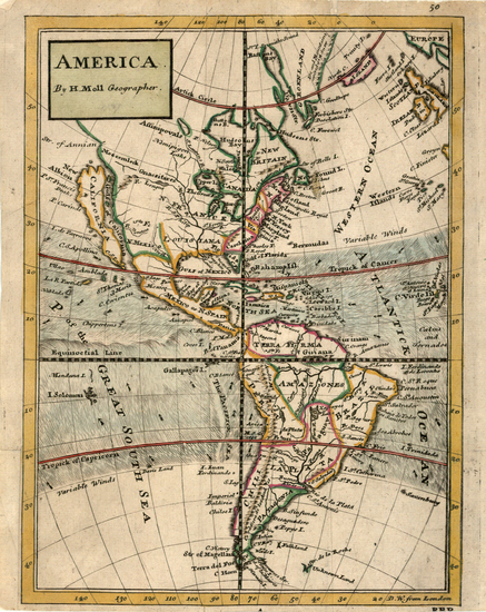 40-South America and America Map By Herman Moll