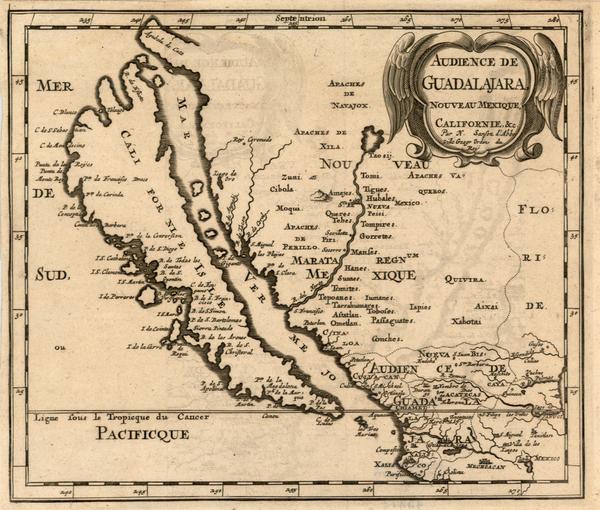 8-Southwest, Mexico, Baja California and California Map By Nicolas Sanson