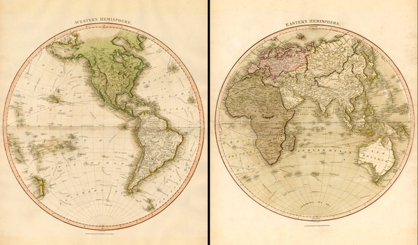 83-World, Eastern Hemisphere, Western Hemisphere, South America, Pacific and America Map By John T