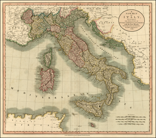 87-Italy, Mediterranean and Balearic Islands Map By John Cary
