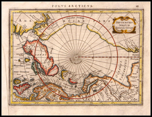 38-World, World, Polar Maps and Alaska Map By Gerard Mercator