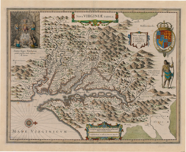 44-Mid-Atlantic and Southeast Map By Henricus Hondius