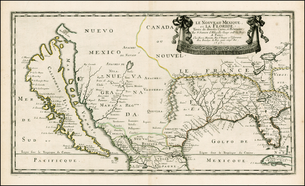 53-Florida, Southeast, Texas, Midwest, Southwest and California Map By Nicolas Sanson