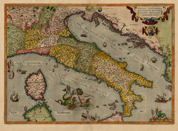41-Europe, Italy, Mediterranean and Balearic Islands Map By Abraham Ortelius