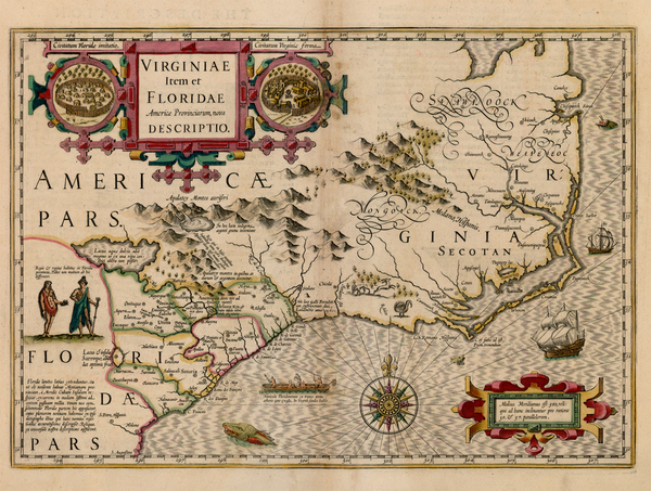 98-Mid-Atlantic and Southeast Map By Jodocus Hondius