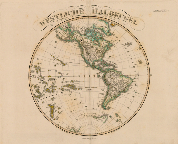 70-World, Western Hemisphere, South America and America Map By Adolf Stieler