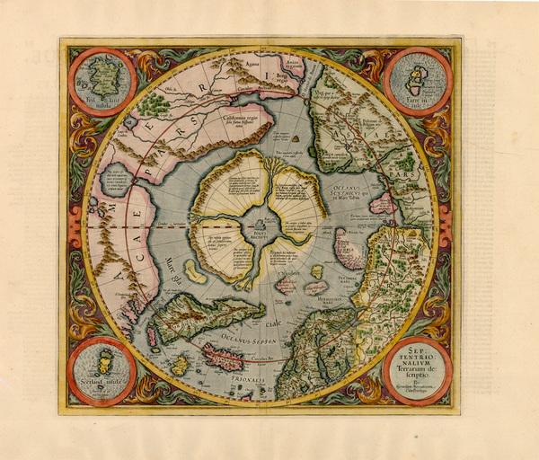 71-World, World, Polar Maps and Alaska Map By Gerard Mercator