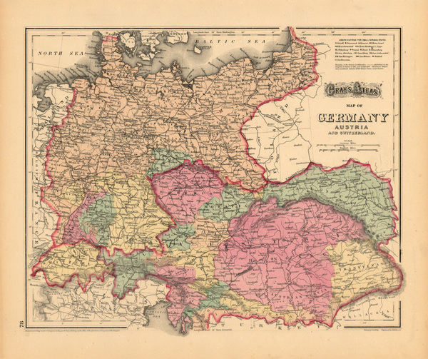 84-Europe, Switzerland, Germany and Austria Map By O.W. Gray
