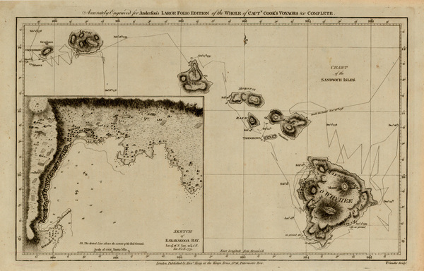 73-Hawaii, Australia & Oceania and Hawaii Map By James Cook