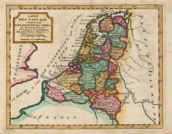 88-Europe, Netherlands and Luxembourg Map By Joseph De La Porte