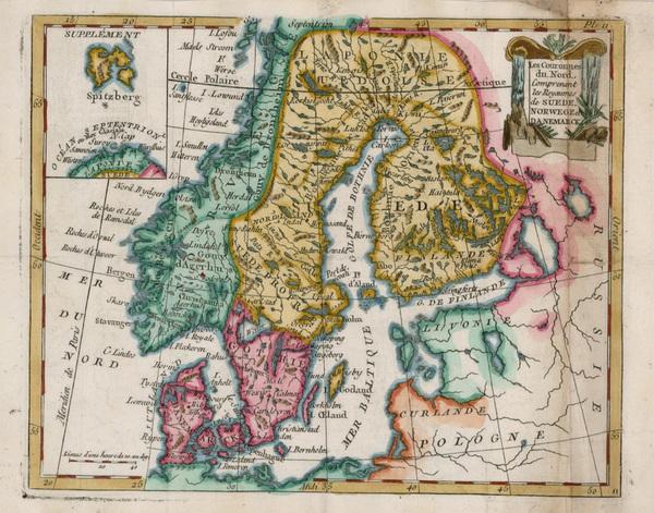 38-Scandinavia Map By Joseph De La Porte